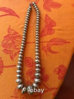 Sterling Navajo Pearl Bead Necklace vintage, elaborate stamping, bench made