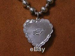 Sterling Silver Bead and Spiny Oyster Heart Necklace made by Leo Feeney