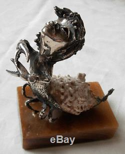 Sterling Silver Crab Combined With A Sea Shell- Made In England