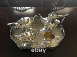 Sterling Silver Gorham 4 Piece Set With Tray Made In Plymouth