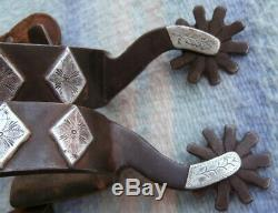 Sterling Silver Iron Custom Made GW Cowboy Ranch Using with Spurs Leather Straps