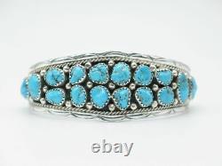 Sterling Silver & Kingman Turquoise Cuff Bracelet made by Navajo Anita Whitegoat