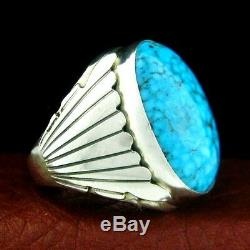 Sterling Silver Men's Turquoise Ring Size 10.5 Native American Made - R71 D z