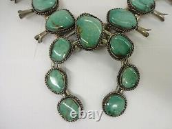 Sterling Silver Navajo Hand Made Bead Turquoise Squash Blossom Necklace 141g