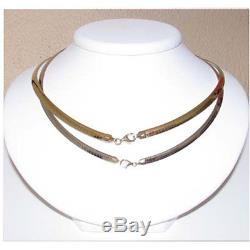 Sterling Silver Reversible 14K Yellow Solid Gold Omega Necklace. Made in Italy