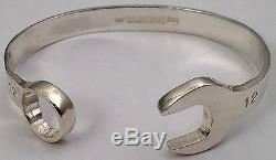 Sterling Silver SPANNER BANGLE 925 Solid Wrench Bracelet UK Hallmarked HAND MADE