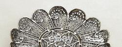 Sterling Silver Serving Plate Filigree Artisan, Yemenite Art, Made in Israel