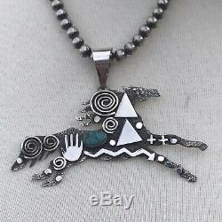 Sterling Silver Turquoise Navajo Made Horse Pendant Signed By Alex Sanchez
