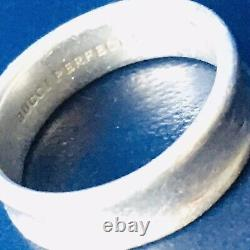 Stylish Genuine Gucci Sterling Silver Unisex Ring, Made In Italy, Size L