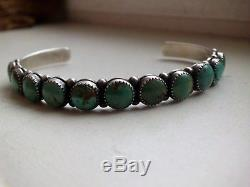 Super Nice Navajo Cuff Green Royston Stones Hand Made Sterling Silver