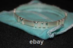 Tiffany & Co Atlas Bangle Bracelet Roman Numeral Sterling Silver Made in Italy