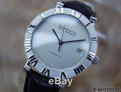 Tiffany & Co Atlas Large 925 Sterling Silver Swiss Made Auto Men's Watch AU180
