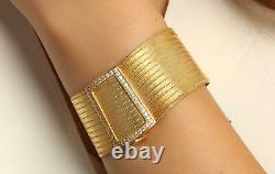 Turkish Hand Made Trabzon 925 Silver Wickerwork Cuff Bracelets Gold Plated