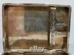 VINTAGE HAND MADE ITALIAN STERLING SILVER CIGARETTE CASE / 2 3/4 x 3 3/4 / 100g