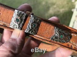 VINTAGE STERLING SILVER & GOLD BELT BUCKLE FOUR PIECE SET with HAND MADE BELT, VGC