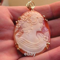 VINTAGE Silver Gold CAMEO SHELL CORNELIAN WELL CARVED Flowers MADE IN ITALY