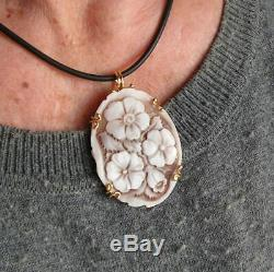 VINTAGE Silver Gold CAMEO SHELL SARDONYX WELL CARVED Flowers MADE IN ITALY