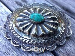 VINTAGE Southwestern STERLING Silver & TURQUOISE CONCHO BELT BUCKLE Hand Made