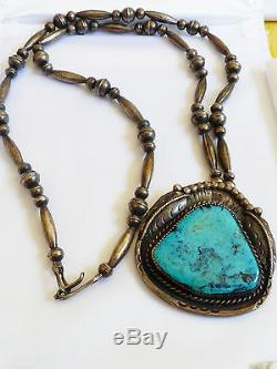 VTG mid century Hand made Sterling Silver Bench Beads Turquoise Pendant Necklace