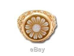 Very special Cameo Ring Flower SunFlower pierced Hand Made in Italy WS Coral