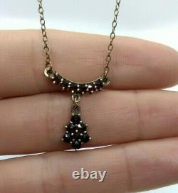 Victorian Silver Necklace with Bohemian Garnets. Genuine Garnets. Made in 1910's