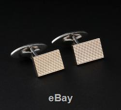 Vintage Art Deco Sterling Silver Cufflinks w. Gold. Made In Denmark. Axel Holm