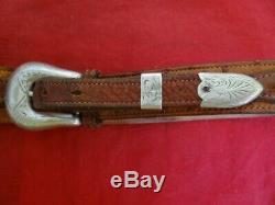 Vintage Bohlin Made Hollywood Sterling Silver Ranger Buckle Set Ostrich Belt