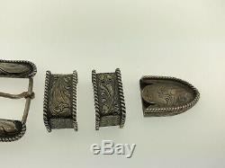 Vintage Chet Vogt Sterling Silver Hand Made Floral Scroll 4 Pc Belt Buckle Set