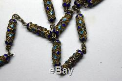 Vintage Chinese Hand Made Sterling Silver Enamel Filigree Necklace