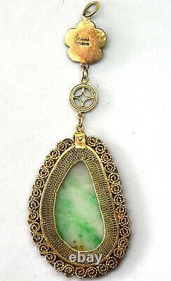 Vintage Chinese Hand Made Sterling Silver & Jade Enamel Filigree Pendant