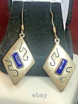Vintage Estate Sterling Silver Blue Lapis Lazuli Earrings Made Mexico Gemstone