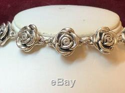 Vintage Estate Sterling Silver Bracelet Flower Signed Made In Thailand