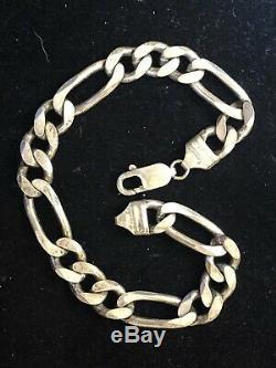 Vintage Estate Sterling Silver Bracelet Made In Italy Men's Figaro 8.5' L