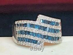 Vintage Estate Sterling Silver Diamond Band Blue & White Made In India Signed Cj