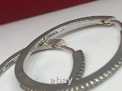 Vintage Estate Sterling Silver Diamond Earrings Hoops Made In India Signed Sun J