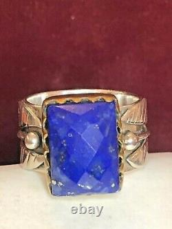 Vintage Estate Sterling Silver Lapis Lazuli Ring Made In India Signed Ys Band