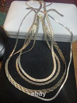 Vintage Estate Sterling Silver Lot 5 Necklace Made In Italy 925 Chain