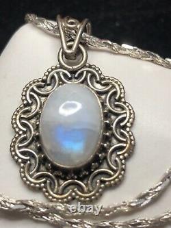 Vintage Estate Sterling Silver Moonstone Pendant Necklace Made In India Gemstone