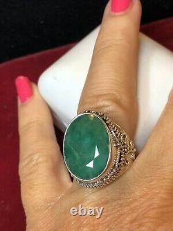 Vintage Estate Sterling Silver Natural Jade Ring Made India Signed Ys Gemstone