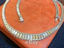 Vintage Estate Sterling Silver Necklace Chain Braided Woven Chain Made In Italy