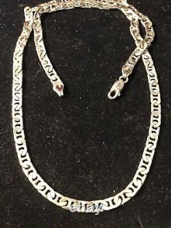 Vintage Estate Sterling Silver Necklace Chain Mariner Made In Italy 20