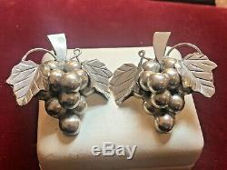 Vintage Estate Sterling Silver Taxco Earrings Grapes 3-d Large Made In Mexico