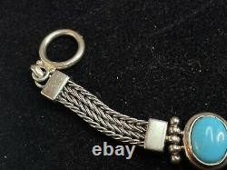 Vintage Estate Sterling Silver Turquoise Bracelet Made In China 925 Signed A