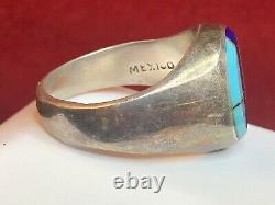 Vintage Estate Sterling Silver Turquoise Lapis Ring Made In Mexico Taxco Ff-49