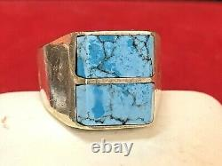 Vintage Estate Sterling Silver Turquoise Ring 950 Made In Mexico Inlaid