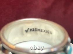 Vintage Estate Sterling Silver Turquoise Ring Band Signed Made In Mexico
