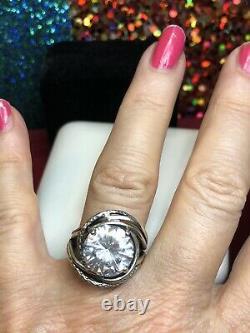 Vintage Estate Sterling Silver White Quartz Ring Made In Israel 6.5 Carats