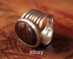 Vintage Gdene Hand Made Men's Ring Fire Agate 19.3 g Size 10.75