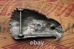 Vintage Hand Made Eagle Head Sterling Silver Blue Stone Western Belt Buckle