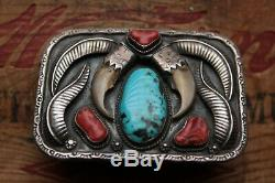 Vintage Hand Made Sterling Silver Turquoise Coral Western Belt Buckle